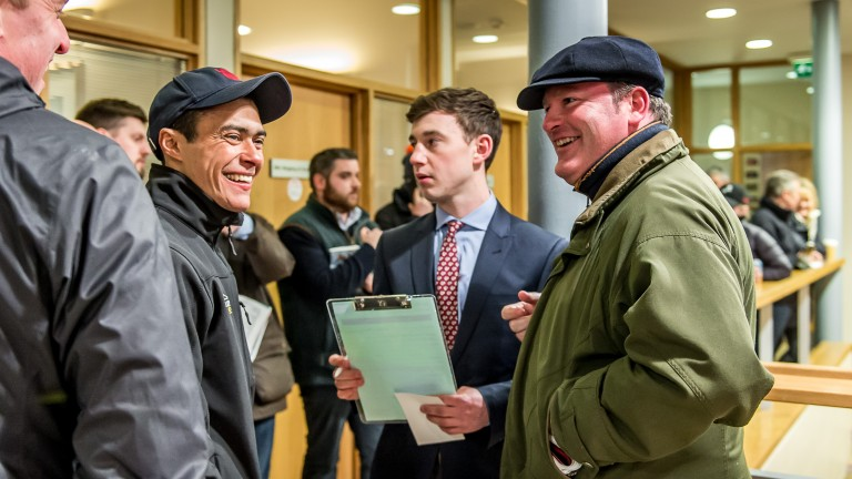Robson Aguiar congratulates Ed Vaughn (right) after purchasing his Pivotal colt for £140,000 on behalf of Phoenix Thoroughbreds