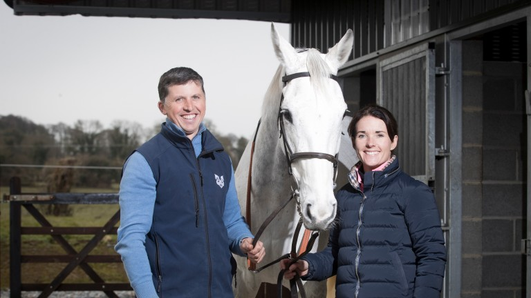 Baie Des Iles with trainer Ross O'Sullivan (left) and jockey Katie Walsh (right), who are married