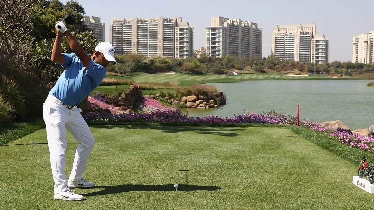 Pablo Larrazabal tees off during the Hero Indian Open