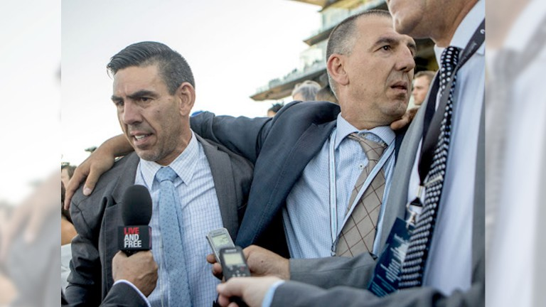 Peter Gelagotis (left): delighted with Levendi's Group 1 victory