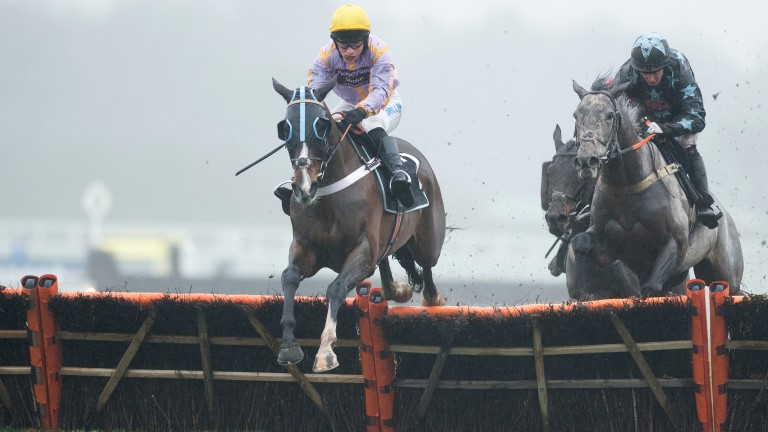 Top weight Jenkins (James Bowen) leads over the final flight at Ascot in January
