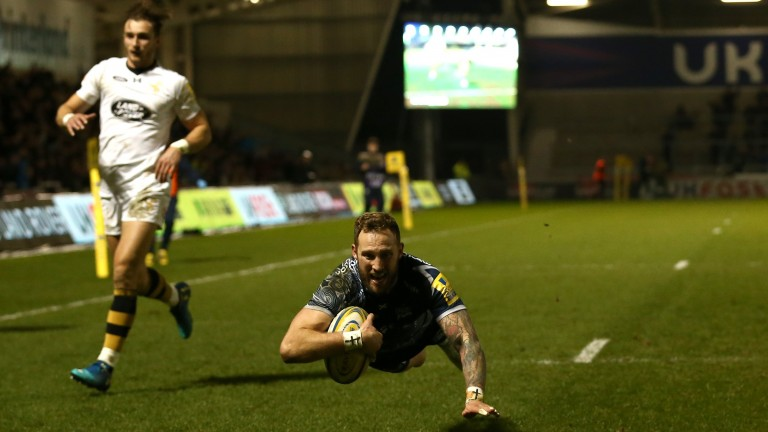 Byron McGuigan scores a try for Sale Sharks in their win over Wasps