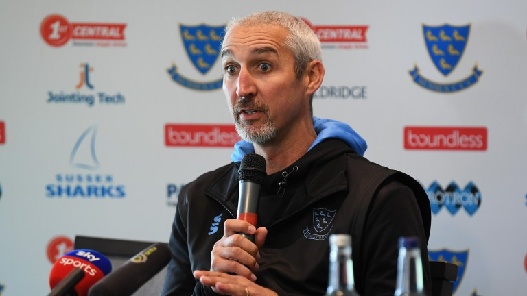 Jason Gillespie answers questions at the Sussex media day
