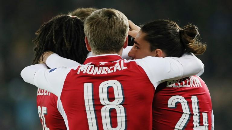 Arsenal celebrate their quarter-final success over CSKA Moscow