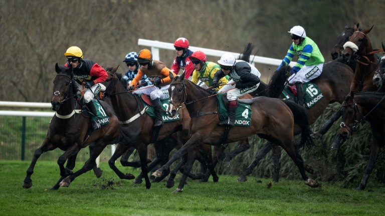 Ultragold (yellow cap) leads the Topham field at Canal Turn