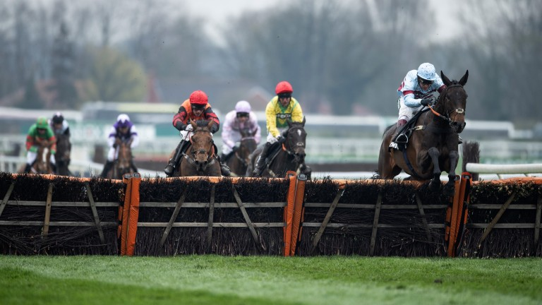Victory leap: Lalor pings the final flight en route to winning the Top Novices' Hurdle under Richard Johnson