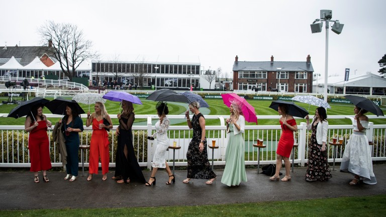 Taking cover: umbrellas are an essential as racegoers shelter from the elements