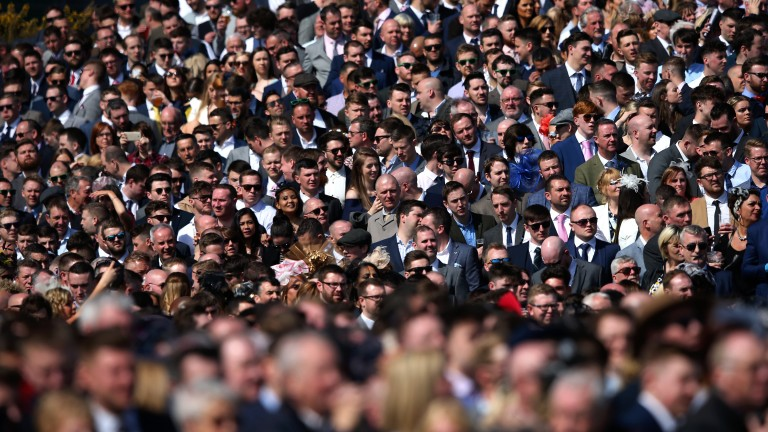 Full house: Grand National day always draws a huge crowd