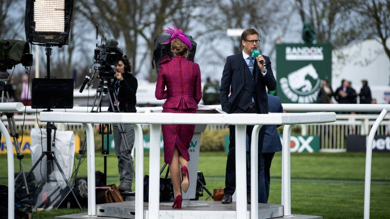 Ed Chamberlin and the ITV Racing team take their position at Aintree