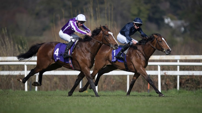 Nelson (far side) gets the better of Delano Roosevelt in the Ballysax Stakes