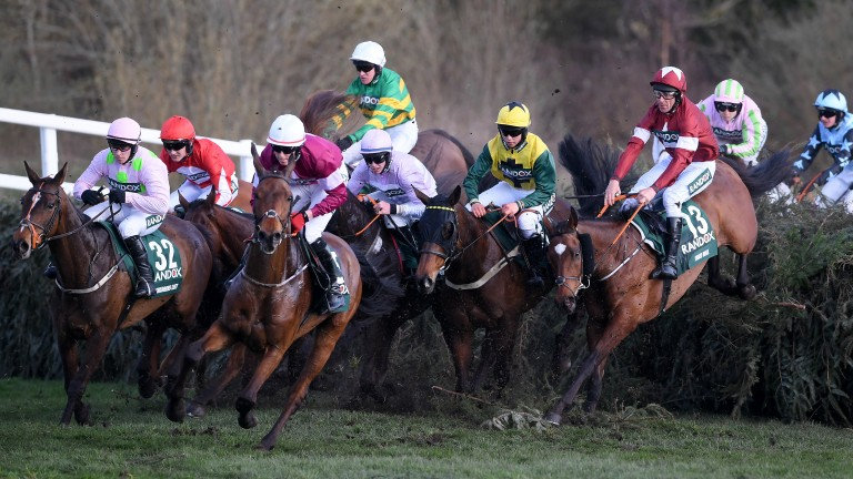 Milansbar (yellow) gave Bryony Frost a dream first ride in the Grand Natioinal, eventually finishing fifth