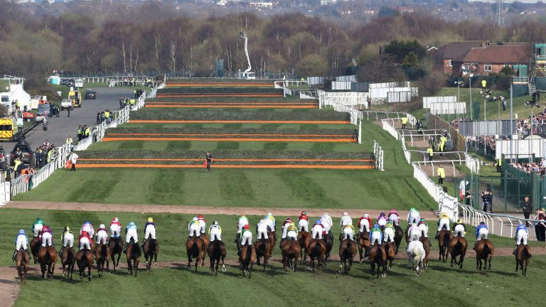 And they're off: the runners head to the first in the Randox Health Grand National