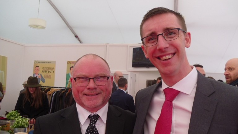 Betting Shop Manager of the Year Ron Hearn with former jockey George Baker at the Cheltenham Festival in March