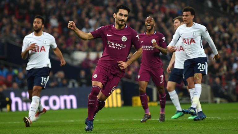 Manchester City's Ilkay Gundogan celebrates his goal against Tottenham at Wembley