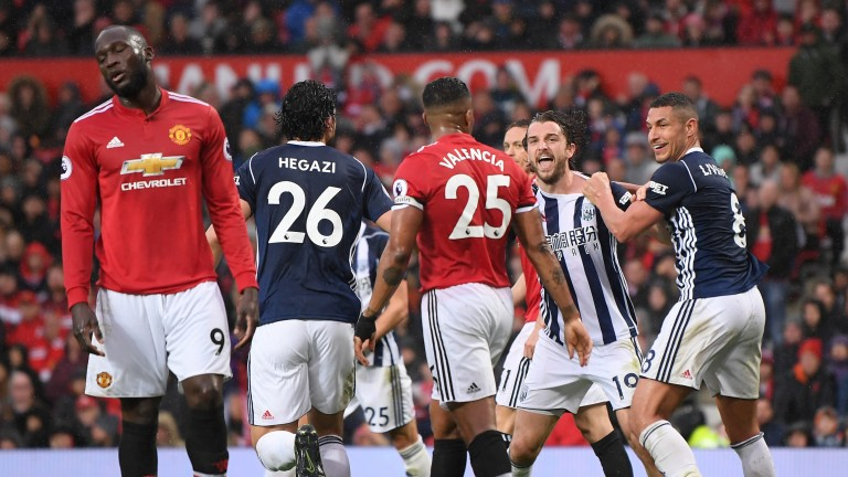 West Brom's Jay Rodriguez scores against Manchester United