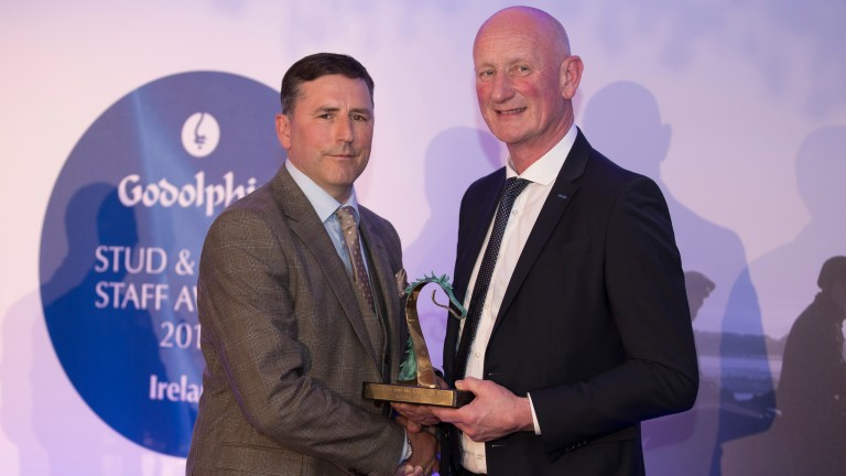 Horse racing: Last year's Irish Racing Excellence Award winner Owen Smyth of Kildangan Stud being presented with the Leads by Example Award by Brian Cody