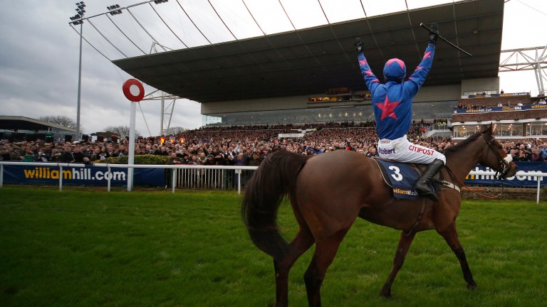 Paddy Brennan celebrates after Cue Card's King George success in 2015