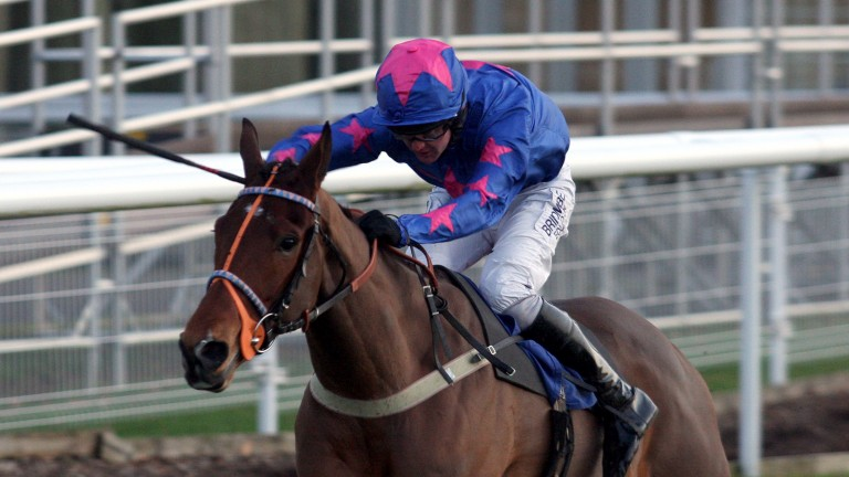 Where it all started: Cue Card powers to victory as a four-year-old on his debut at Fontwell