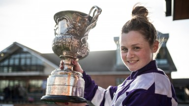 Katie O'Farrell with the Ladies National trophy after her victory on Flemenstorm