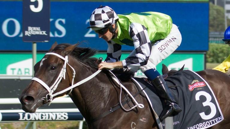 Unforgotten, trained by Chris Waller, wins the Australian Oaks on Saturday