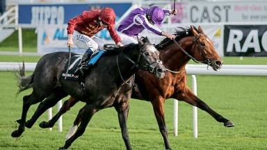 Roaring Lion (Oisin Murphy, nearside) gives 2,000 Guineas favourite Saxon Warrior a fright in the Racing Post Trophy at Doncaster last October