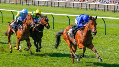 Soliloquy and William Buick win the Lanwades Stud Nell Gwyn from Altyn Orda and Eirene (green and yellow colours) at Newmarket on Wednesday