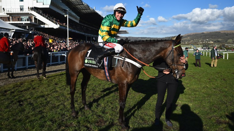 Barry Geraghty celebrates after winning the 2018 Champion Hurdle at Cheltenham on Buveur D'Air