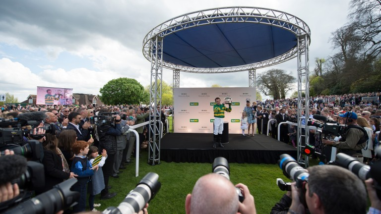 Thousands of fans watch the champ receive his 20th and final champion jockey