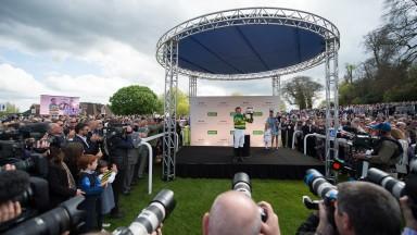Tony McCoy with the Jockeys Championship trophySandown 25.4.15 Pic: Edward Whitaker