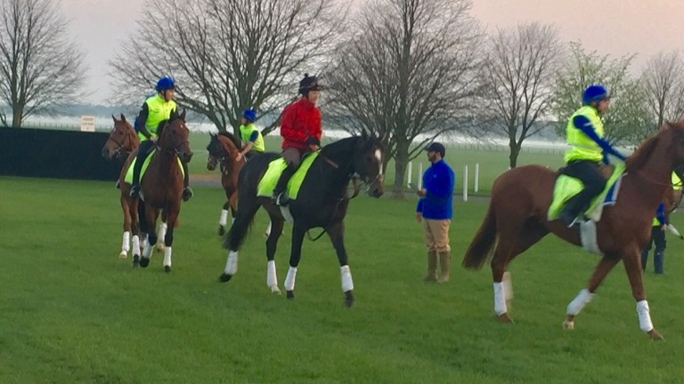 Hayley Turner (red jacket) rides out for Godolphin on Leader's Legacy with Saeed Bin Suroor looking on