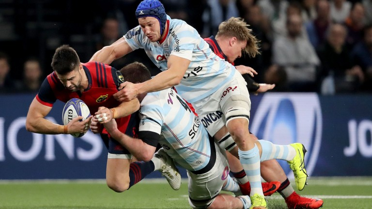Munster scrum-half Conor Murray in the thick of the action against Racing 92