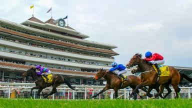 Dan's Dream runs out a cosy winner of the Dubai Duty Free Stakes at Newbury on Saturday