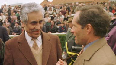 Khalid Abdulla  with Andre Fabre After Xaar wins at Newmarket