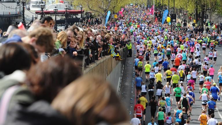 Runners and racegoers at the Virgin Money London Marathon