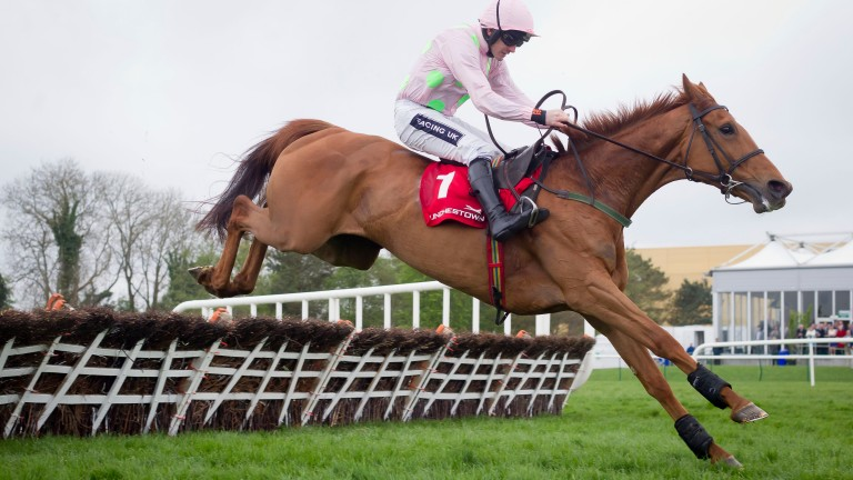 Annie Power and Ruby Walsh jump the last to win the 2014 Mares Champion Hurdle