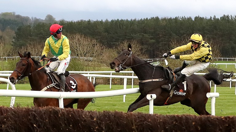 Al Boum Photo (Paul Townend) veers right off course taking out Finian's Oscar (red cap)