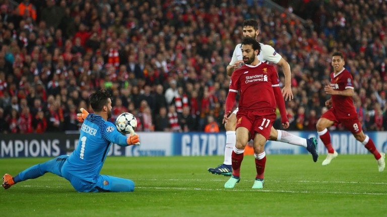 Mohamed Salah scores Liverpool's second goal against Roma