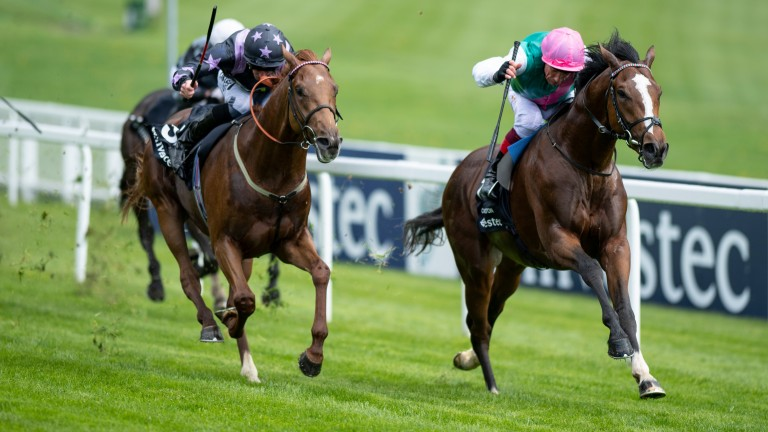 Crossed Baton (Frankie Dettori,right) beats My Lord And Master in the Blue Riband Trial