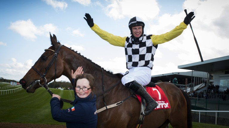 Sheer delight: Paul Townend celebrates victory on Next Destination in the Grade 1 novice hurdle