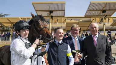 Happy travellers: Oisin Murphy, Freddie and Martyn Meade after Chilean wins the Group 3 Prix La Force at ParisLongchamp