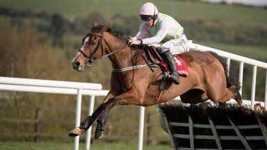 Faugheen and David Mullins jumping the final flight when winning the Grade 1 Ladbrokes Champion Stayers Hurdle.Punchestown.Photo: Patrick McCann 26.04.2018