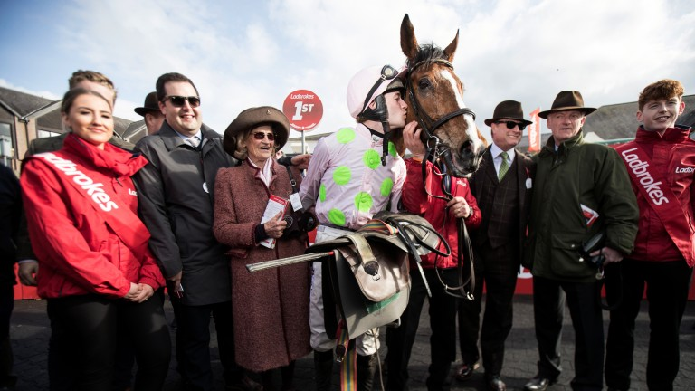 Pride and joy: connections of Faugheen pose for the cameras after his Stayers Hurdle victory