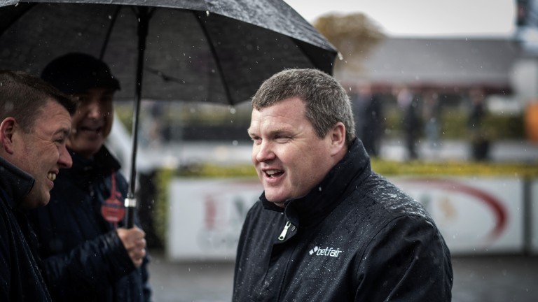 Back in the game: Gordon Elliott is back in the winner's enclosure as Park Paddocks wins the opener