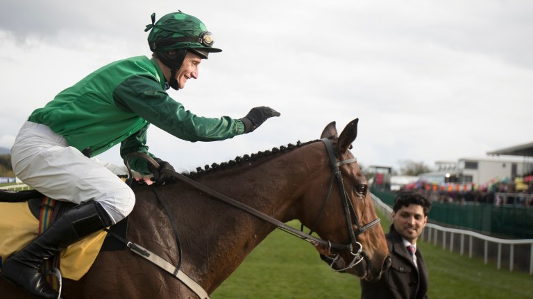 Daryl Jacob celebrates winning on Footpad in the Ryanair Novice Chase at Punchestown