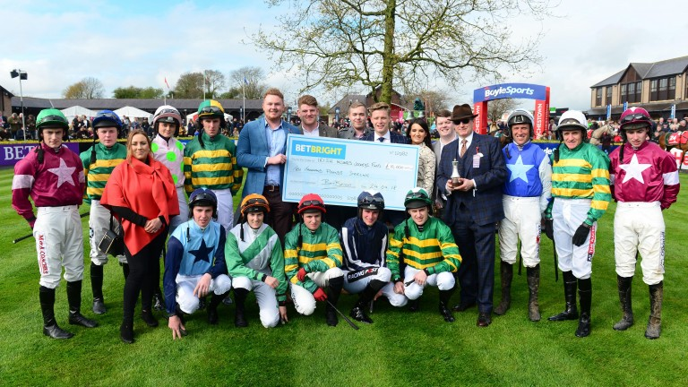 Rich Ricci, executive chairman of BetBright, presents the cheque at the Punchestown festival