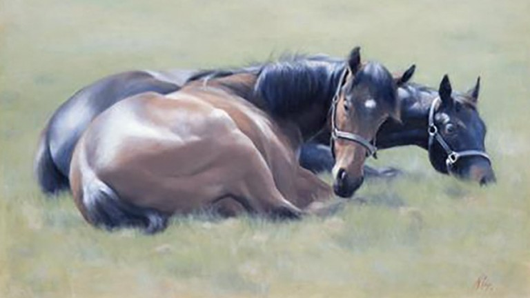 Spirling colts by Nichola Eddery, part of the Celebrating The Turf exhibition at the Osborne Studio Gallery