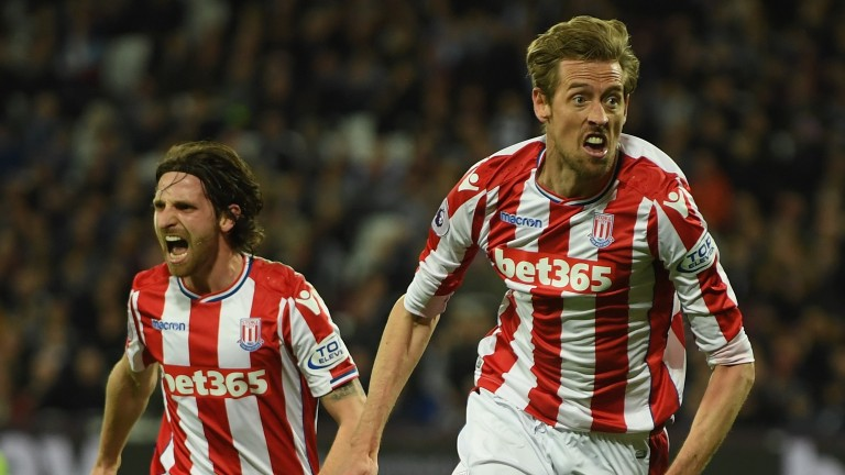 Stoke's Joe Allen (left) and Peter Crouch