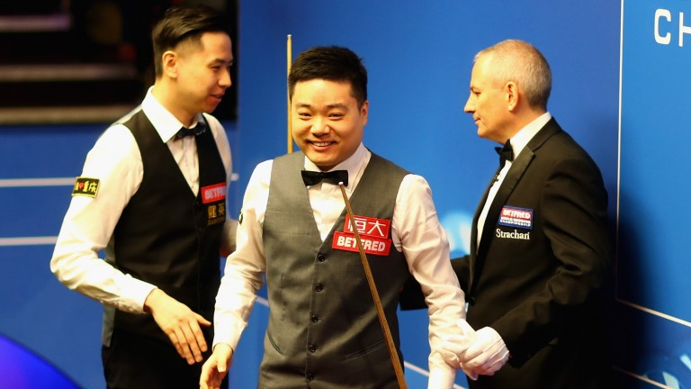 Ding Junhui is picture of happiness at the Crucible this year