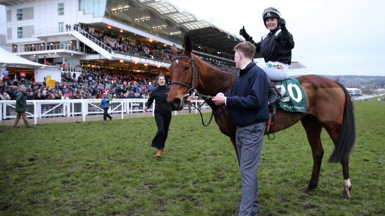 Thumbs up: Katie Walsh celebrates a third and what proved to be final Cheltenham Festival winner aboard Relegate in this year's Champion Bumper