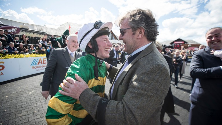 Carberry is congratulated by Enda Bolger after she signs off with victory on the trainer's Josies Orders